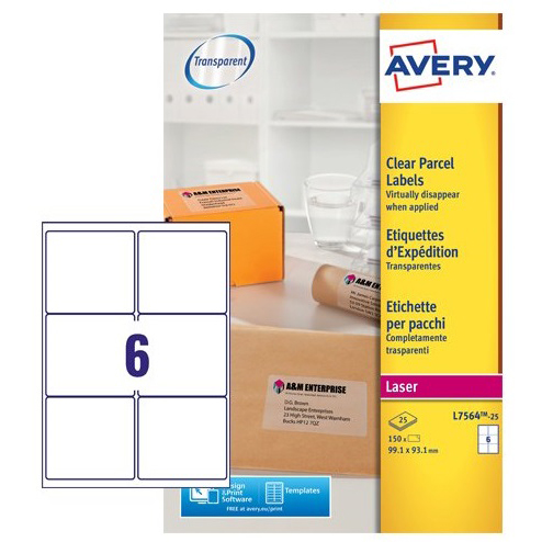 avery parcel labels laser 6 per sheet 99 1x93 1mm clear gloss ref
