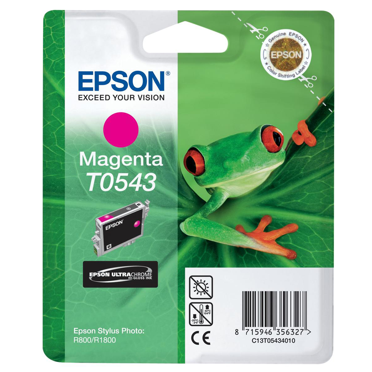 Epson T0543 Inkjet Cartridge Frog Page Life 400pp 13ml Magenta Ref C13t05434010