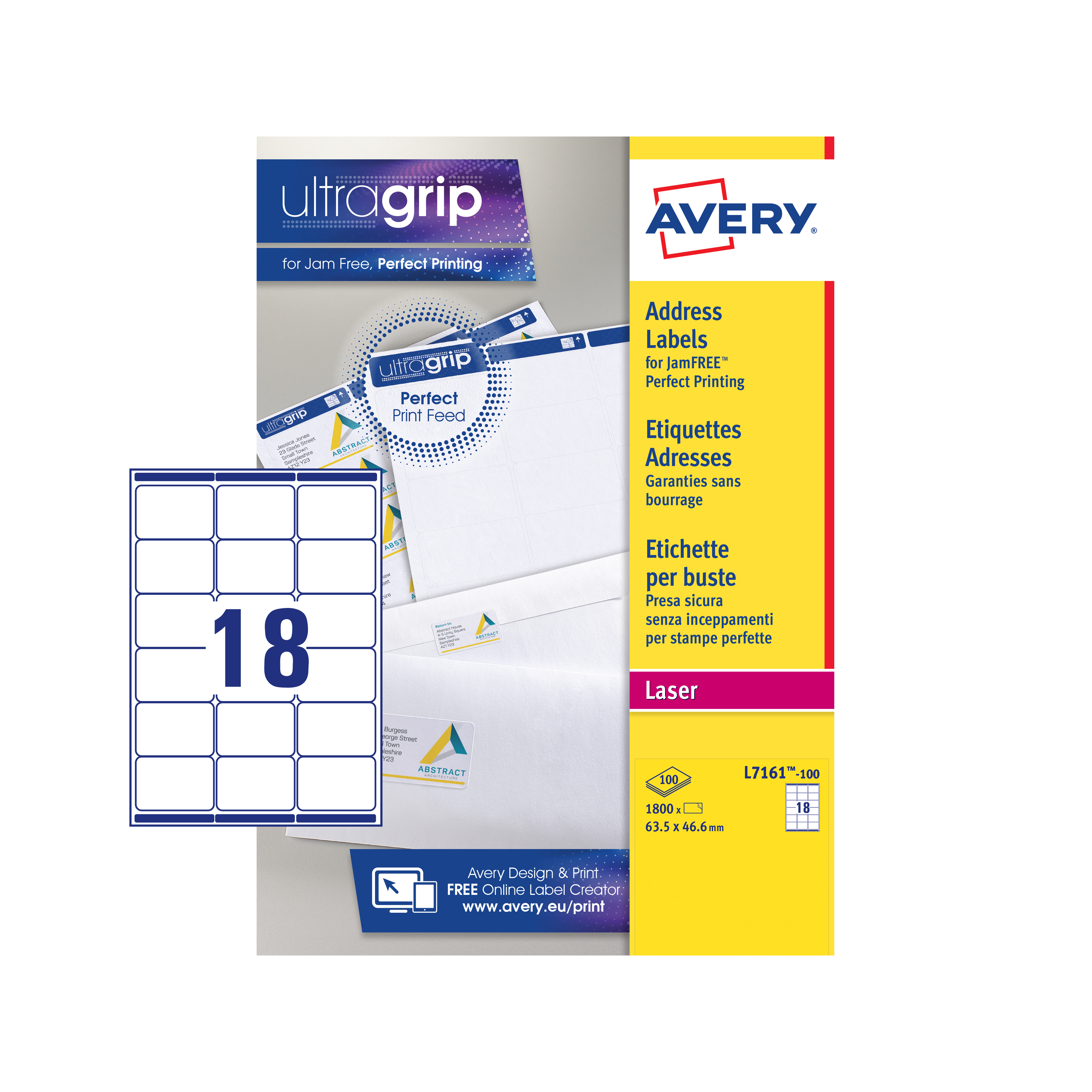 avery addressing labels laser jam free 18 per sheet 635x466mm white ref l7161 100 1800 labels