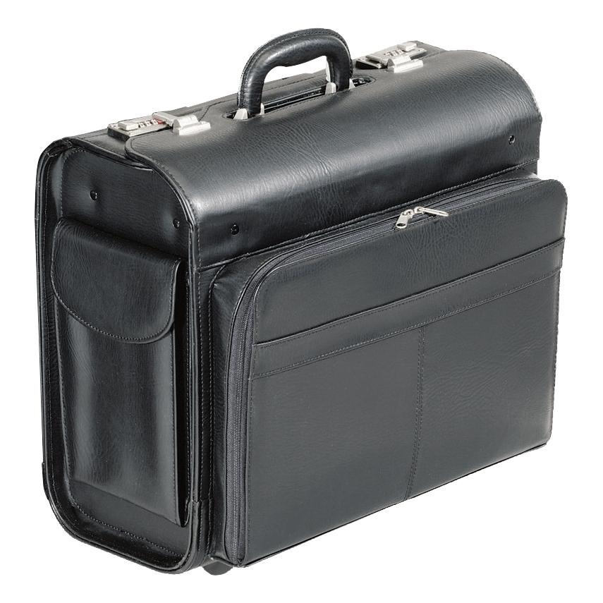 88e2ab6812b Alassio San Remo Trolley Pilot Case Multi-section 2 Combination Locks  Leather-look Black Ref 45030