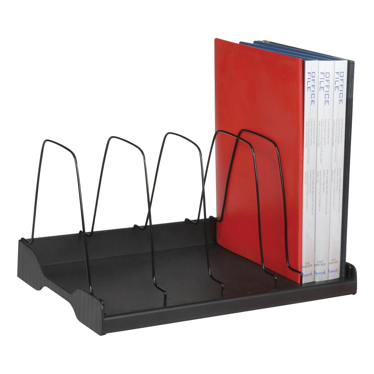 Adjule Book Rack 6 Wire Dividers W388xd275xh220mm Black