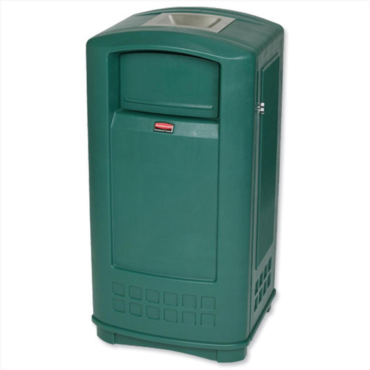 Rubbermaid Landmark Bin Durable Plastic With Ashtray Spring Loaded Doors 189 1 Litre Green Ref 3965 58