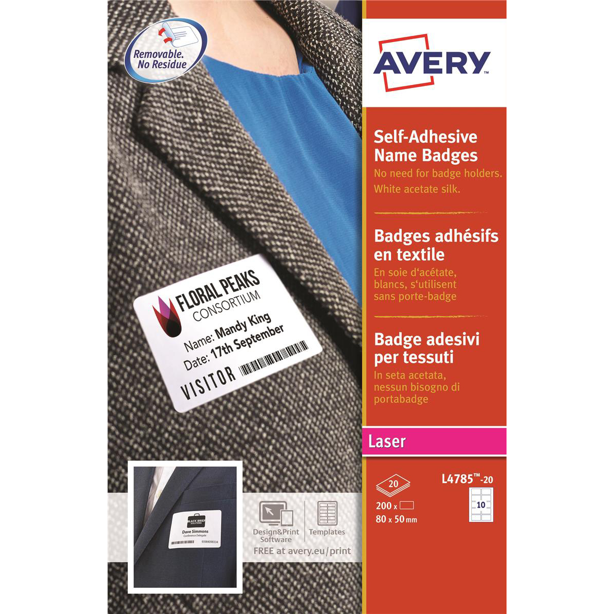 Avery Name Badge Labels Laser Self-adhesive 80x50mm White