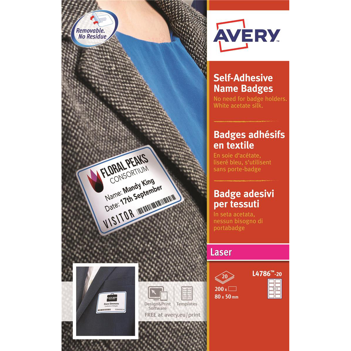 avery name badge labels laser self adhesive 80x50mm red border ref