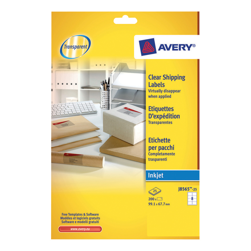 avery addressing labels inkjet 8 per sheet 99 1x67 7mm clear ref