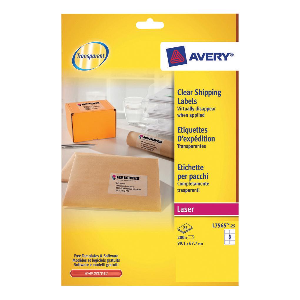 avery parcel labels laser 8 per sheet 99 1x67 7mm clear ref l7565 25