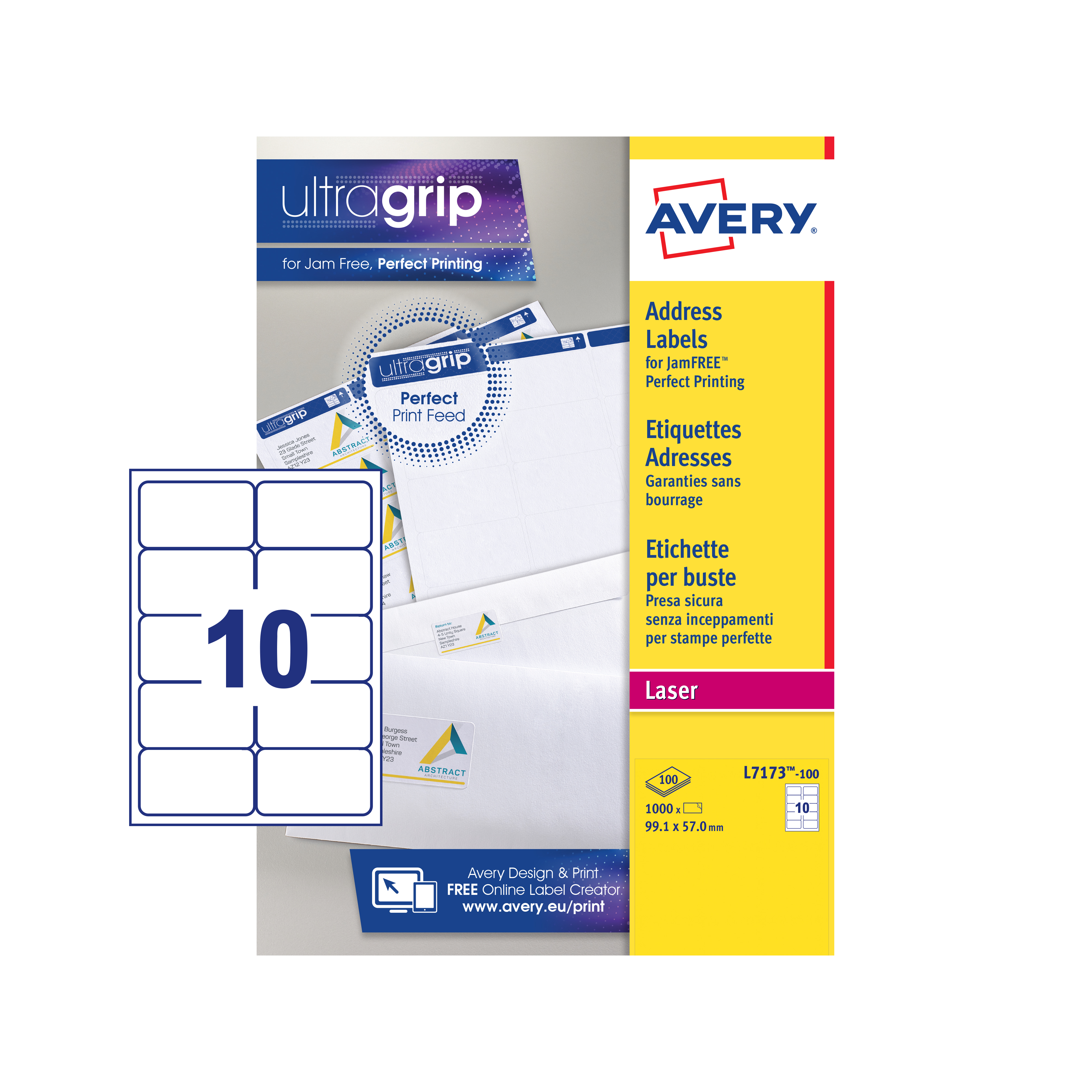 avery addressing labels laser jam free 10 per sheet 99 1x57mm white