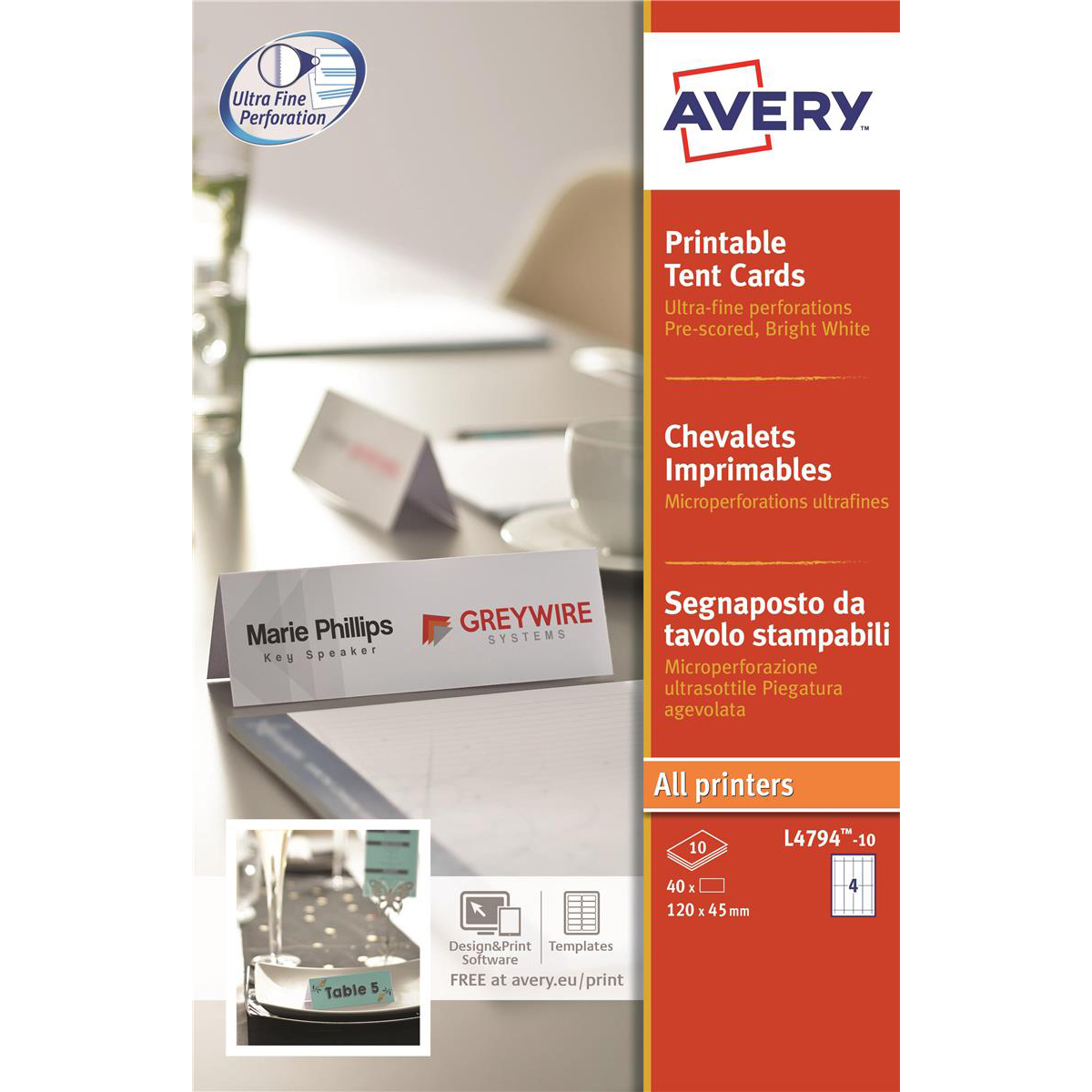 avery printable business tent card 4 per sheet 120x45mm 190gsm white