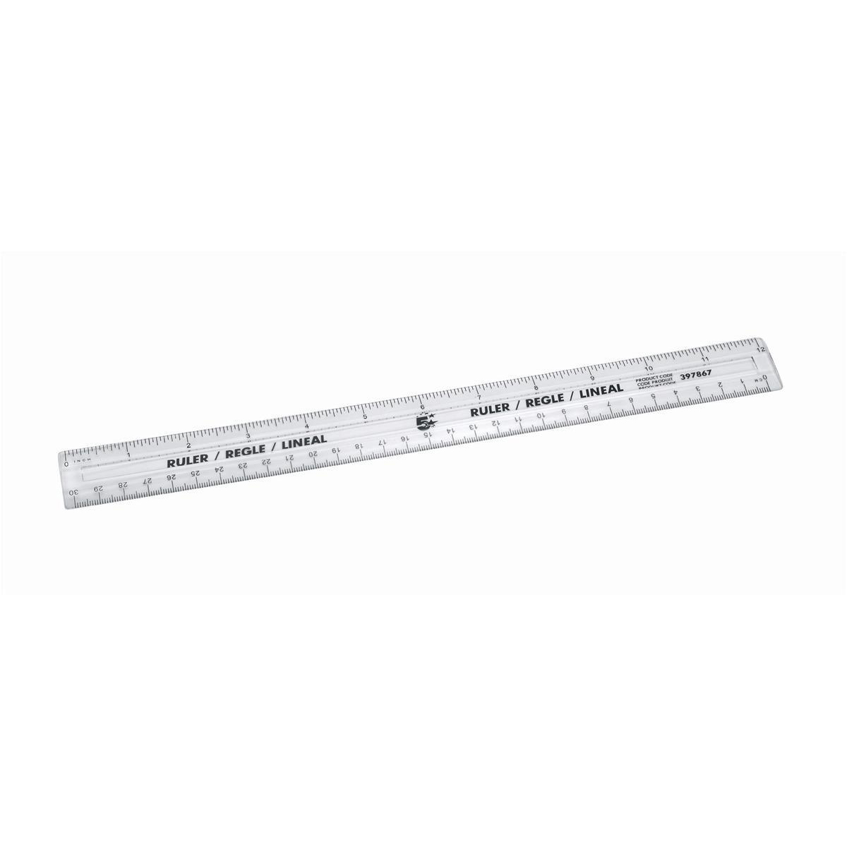 5 Star Office Ruler Plastic Metric And Imperial Markings 300mm Clear Pack 10