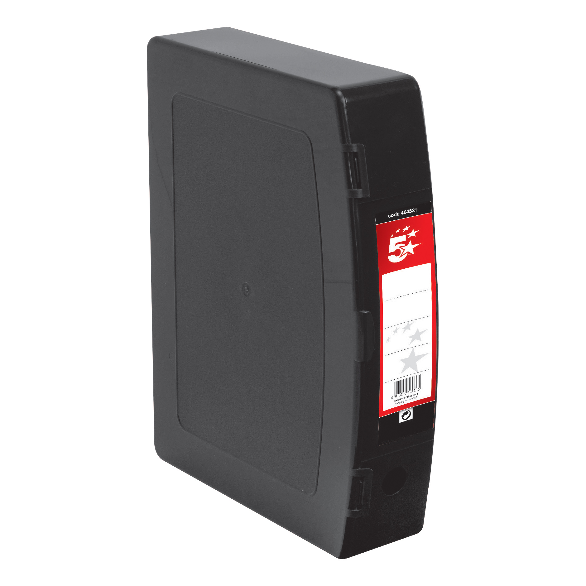 5 Star Office Box File 75mm Spine Polypropylene Twin Clip Lock Foolscap Black
