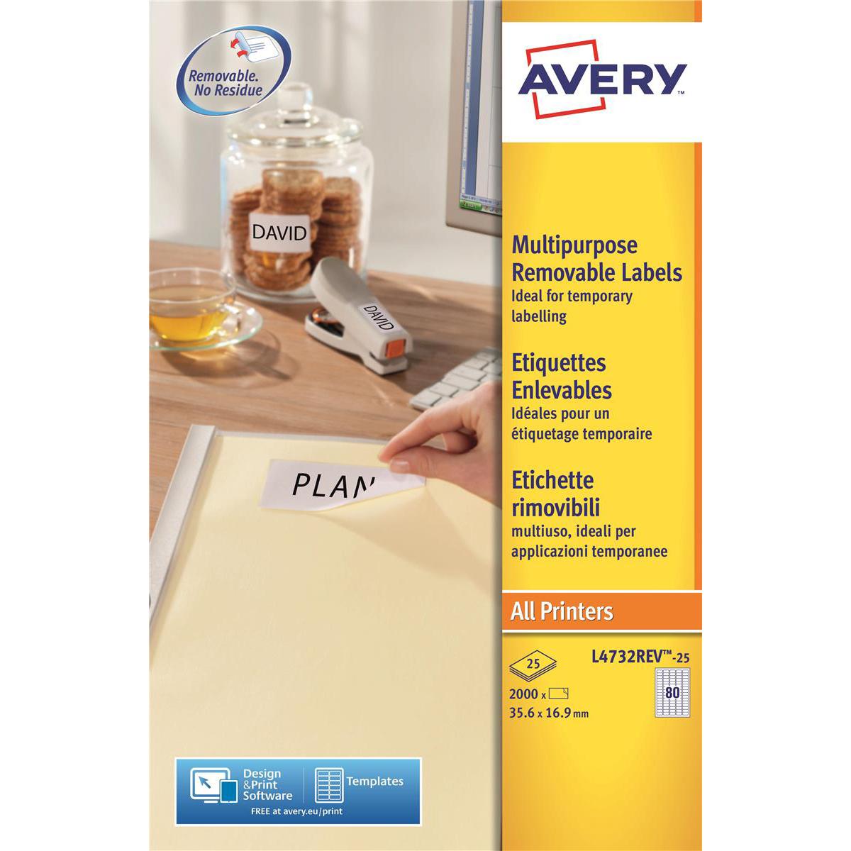 avery mini multipurpose labels removable laser 80 per sheet 35 6x16