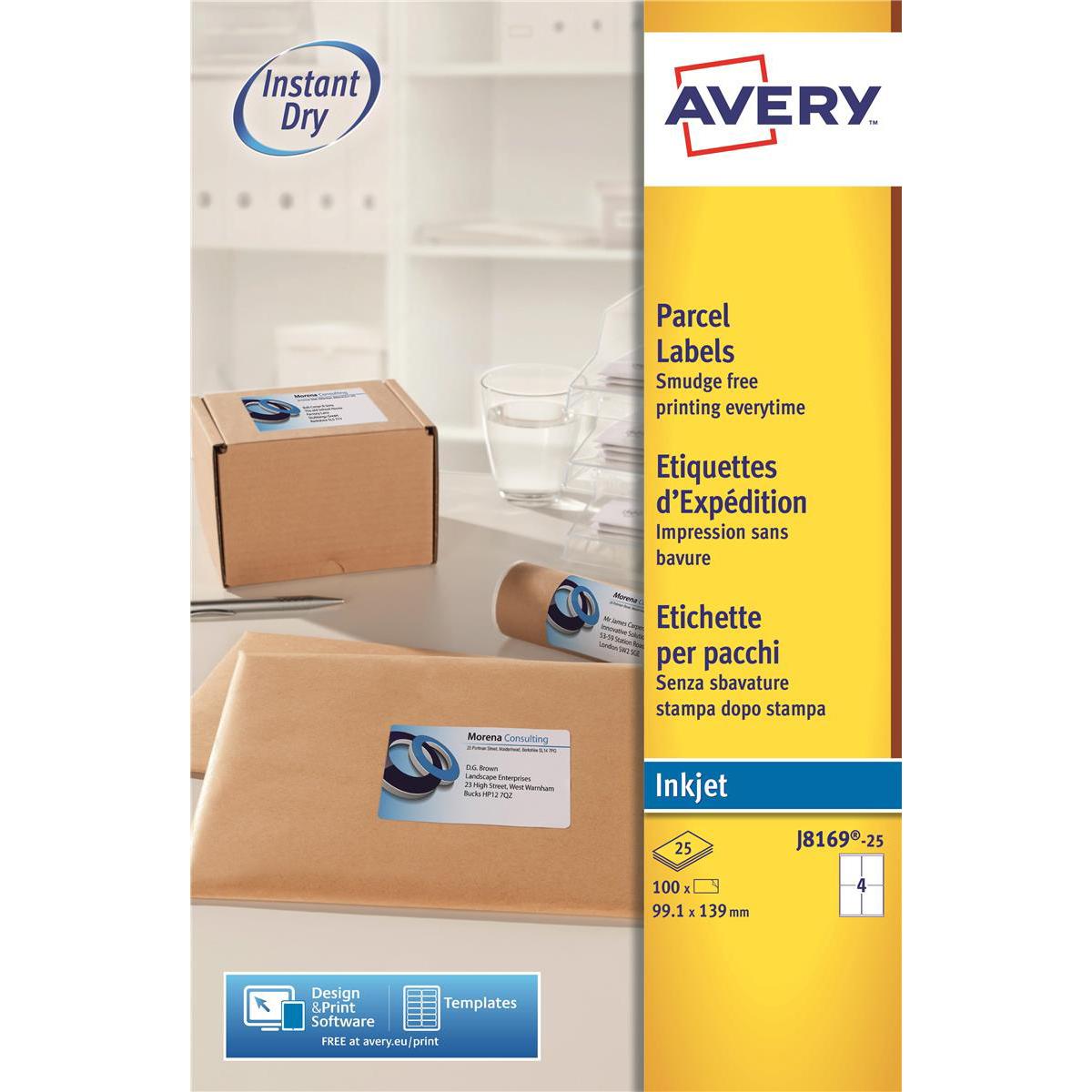 avery quick dry parcel labels inkjet 4 per sheet 139x99 1mm white