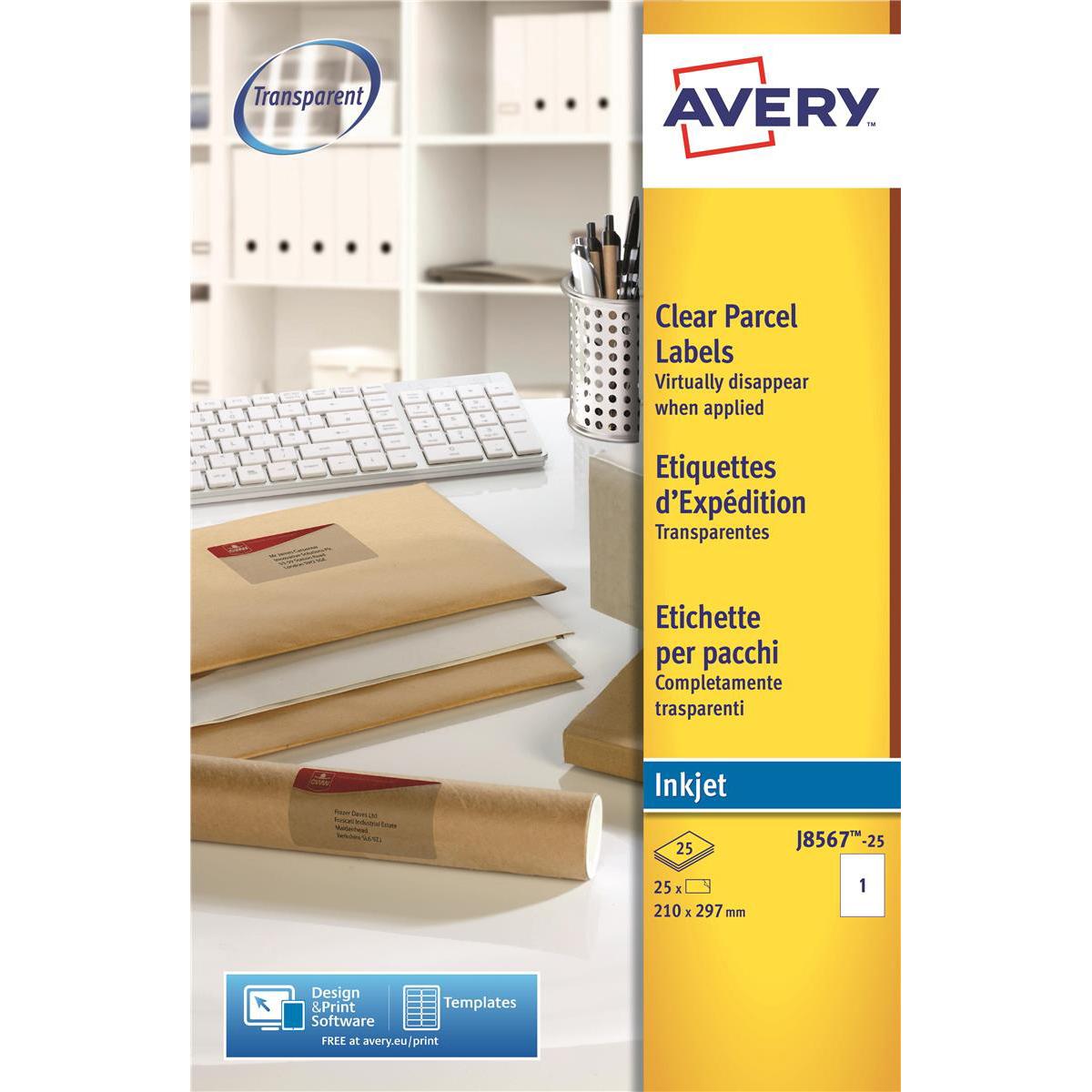 Avery Parcel Labels Laser 1 per Sheet 210x297mm Clear Ref L7567-25 25 Labels