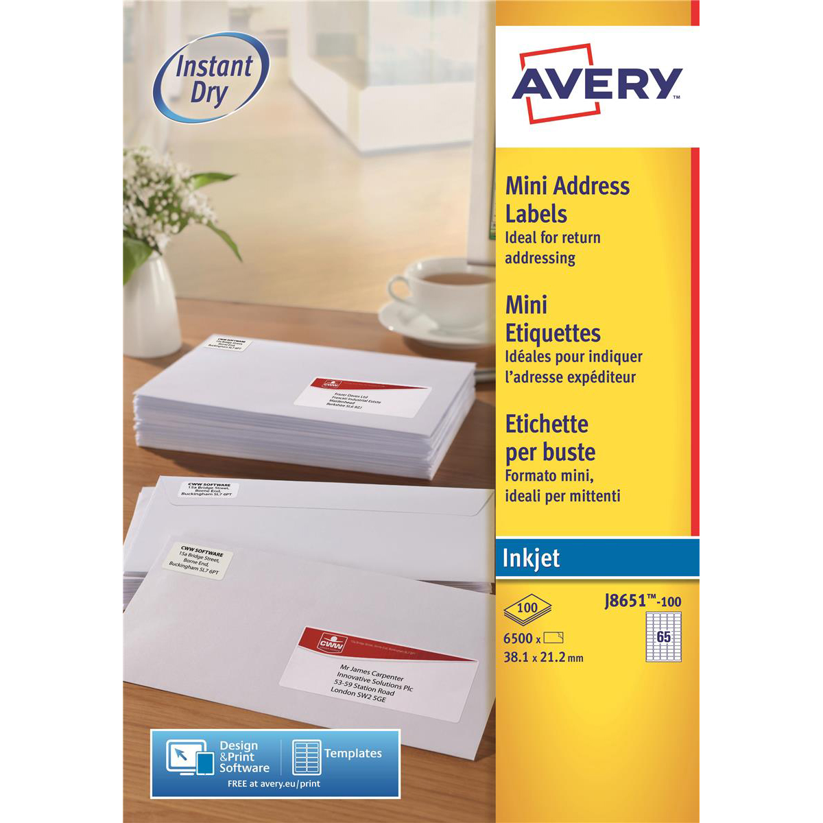 Avery Mini Address Labels Inkjet 65 Per Sheet 381x212mm White Ref
