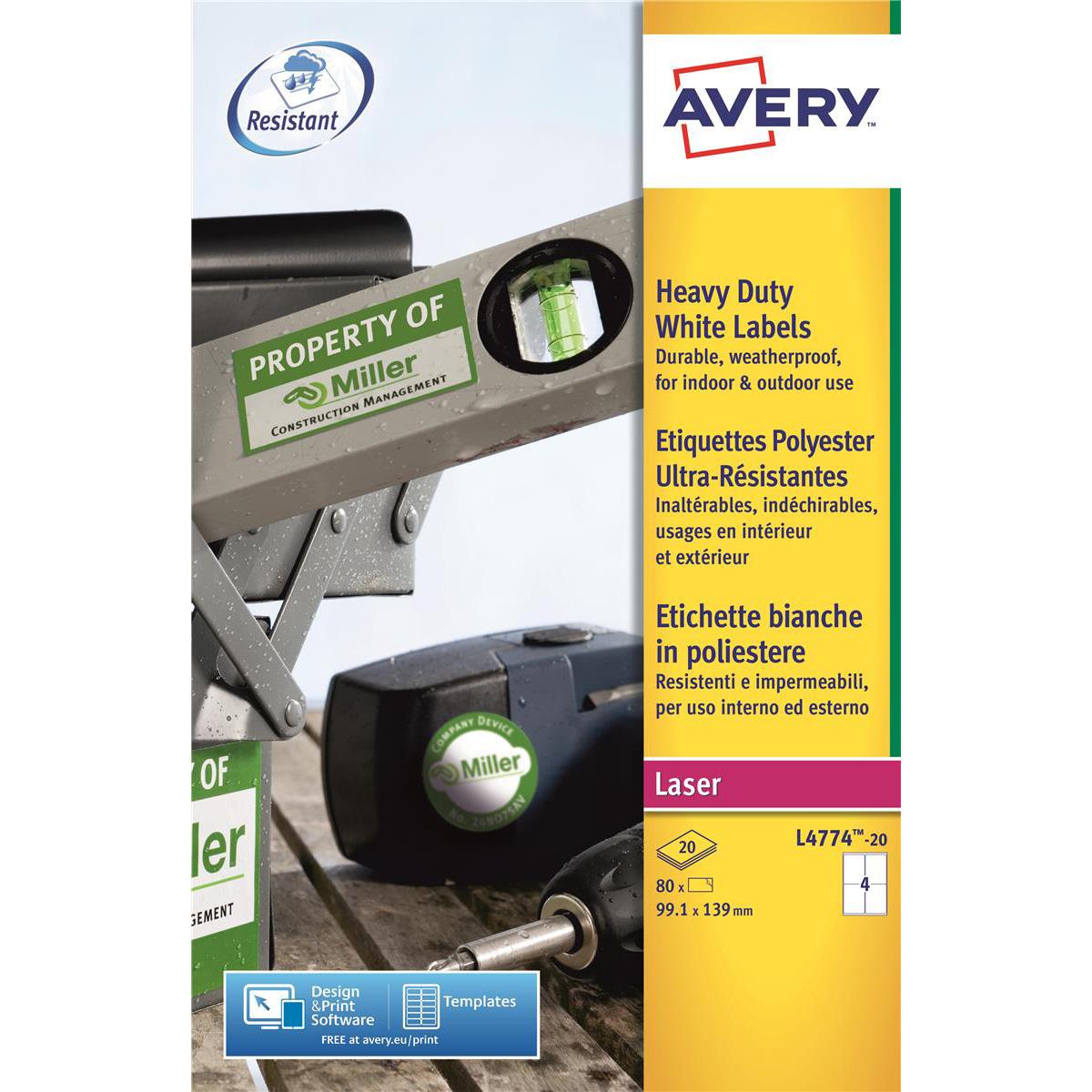 avery heavy duty labels laser 4 per sheet 99 1x139mm white ref l4774