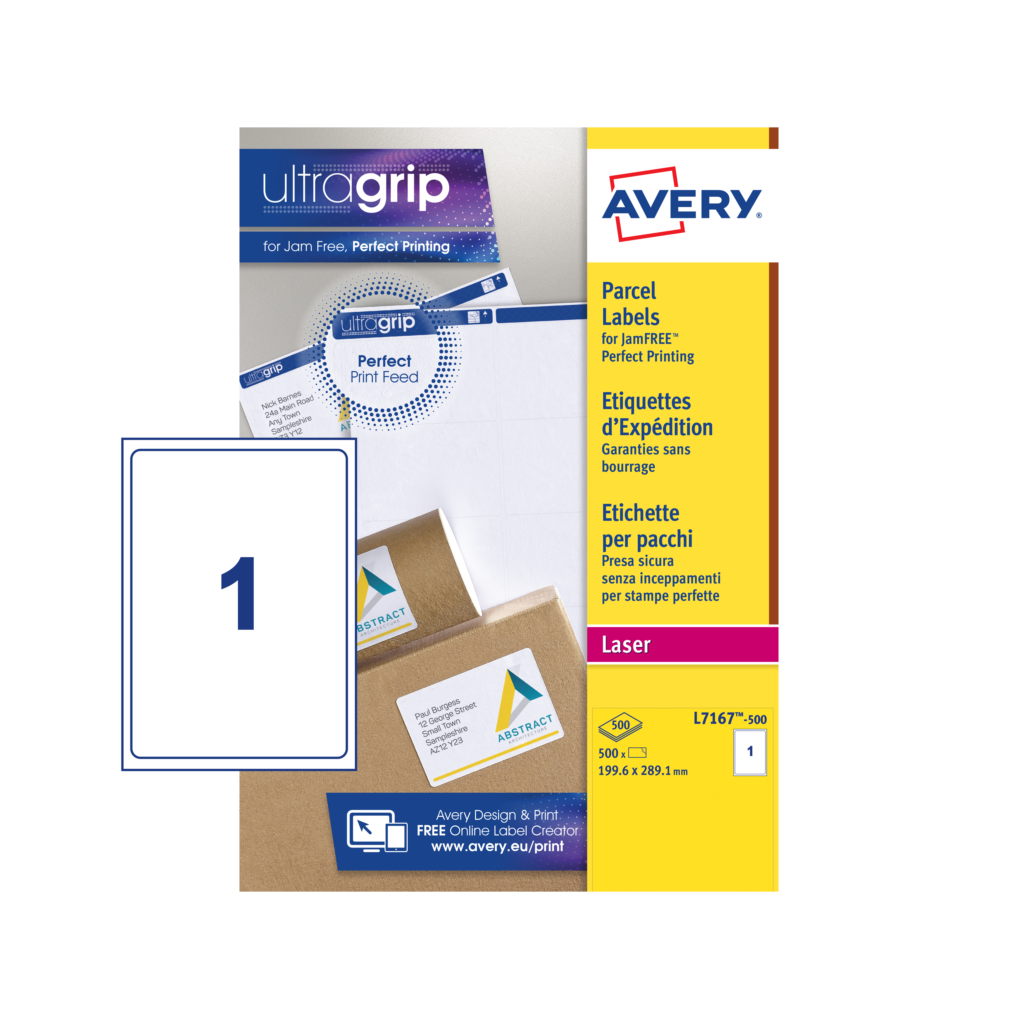 Avery parcel labels laser jam-free 2 per sheet 199. 6x143. 5mm.