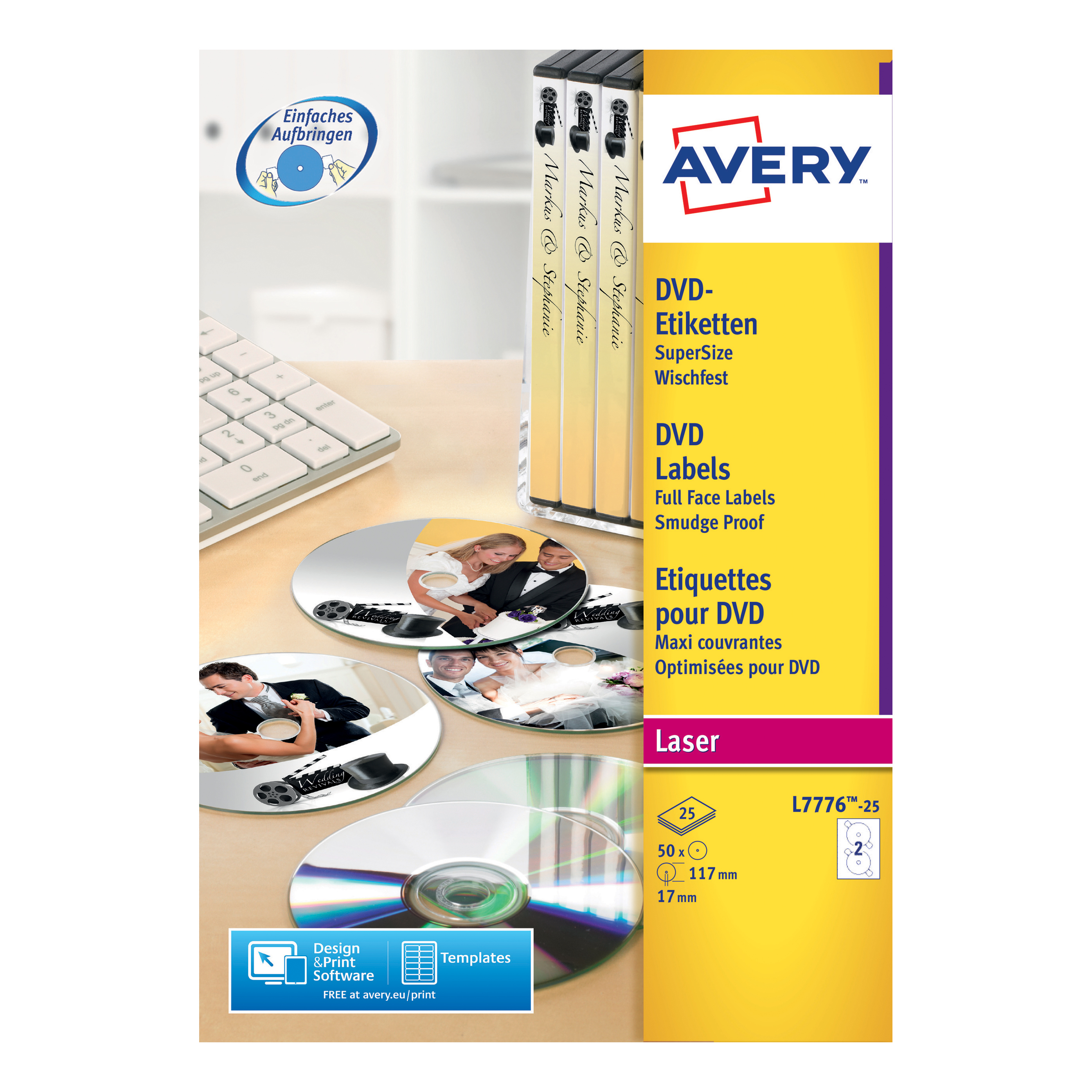 avery cd dvd labels laser 2 per sheet dia 117mm dvd safe matt white