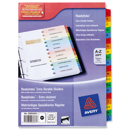 Avery ReadyIndex A-Z 20-Part Punched Mylar-reinforced Multicolour