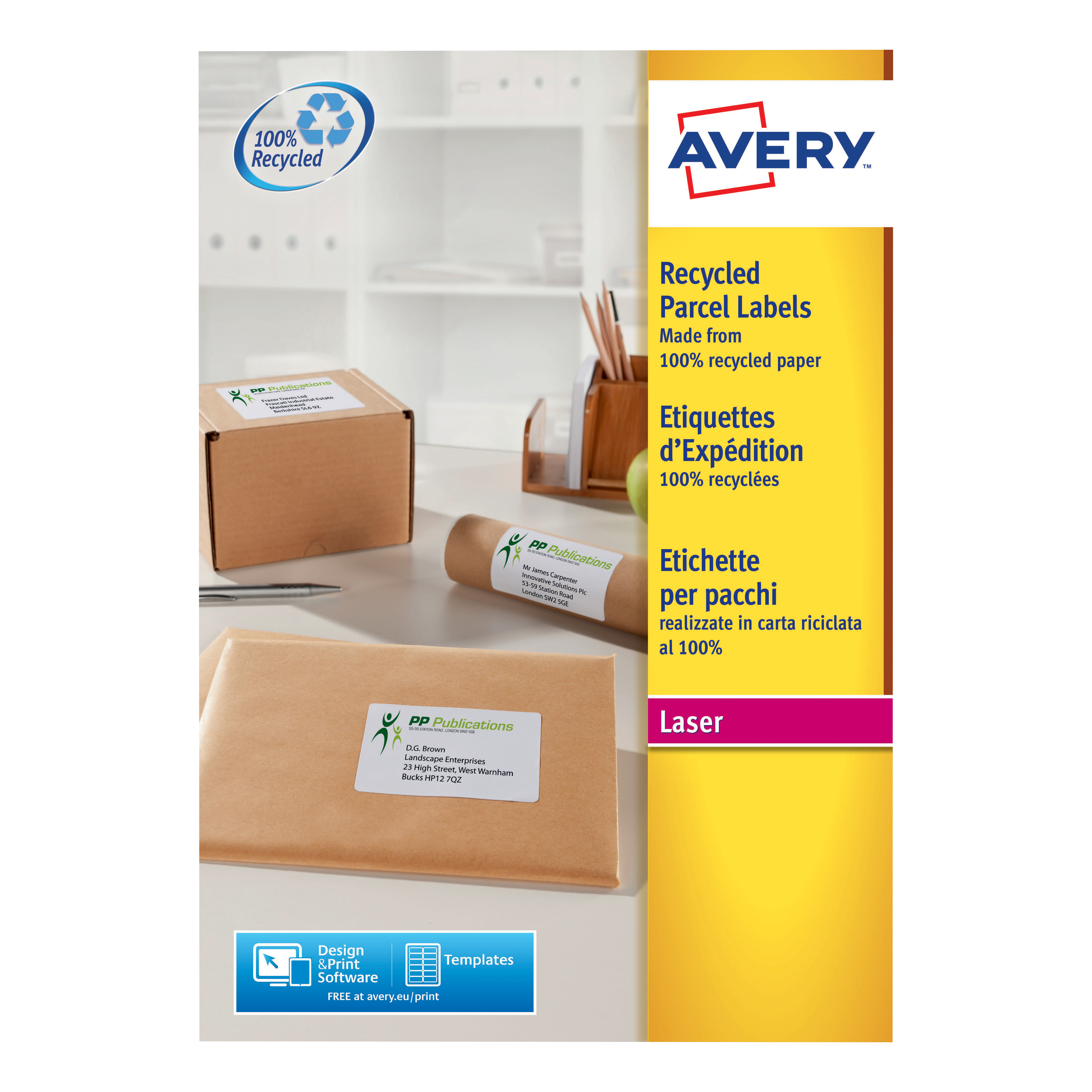 avery addressing labels laser recycled 8 per sheet 99 1x67 7mm white