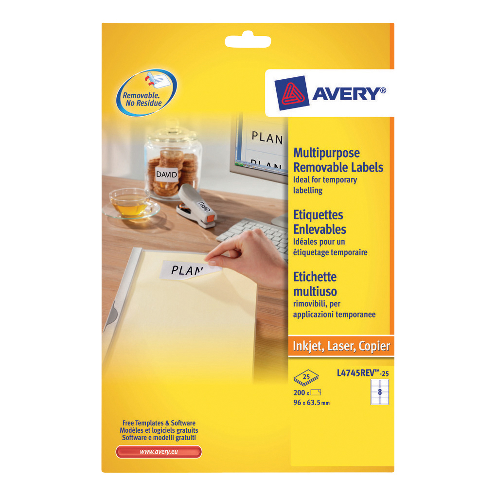 avery multipurpose labels removable laser 8 per sheet 96x63 5mm
