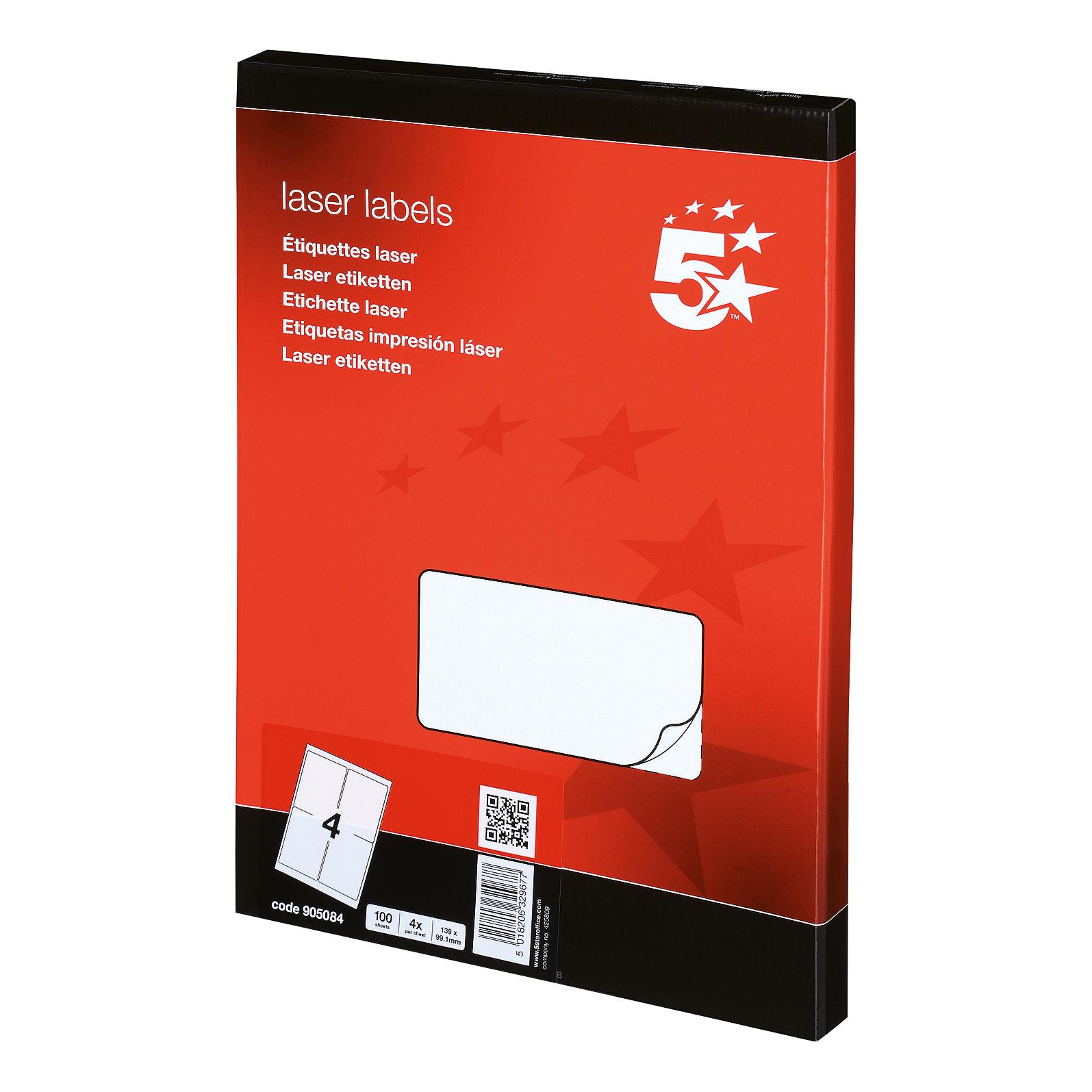 5 star office multipurpose labels laser copier and inkjet 4 per