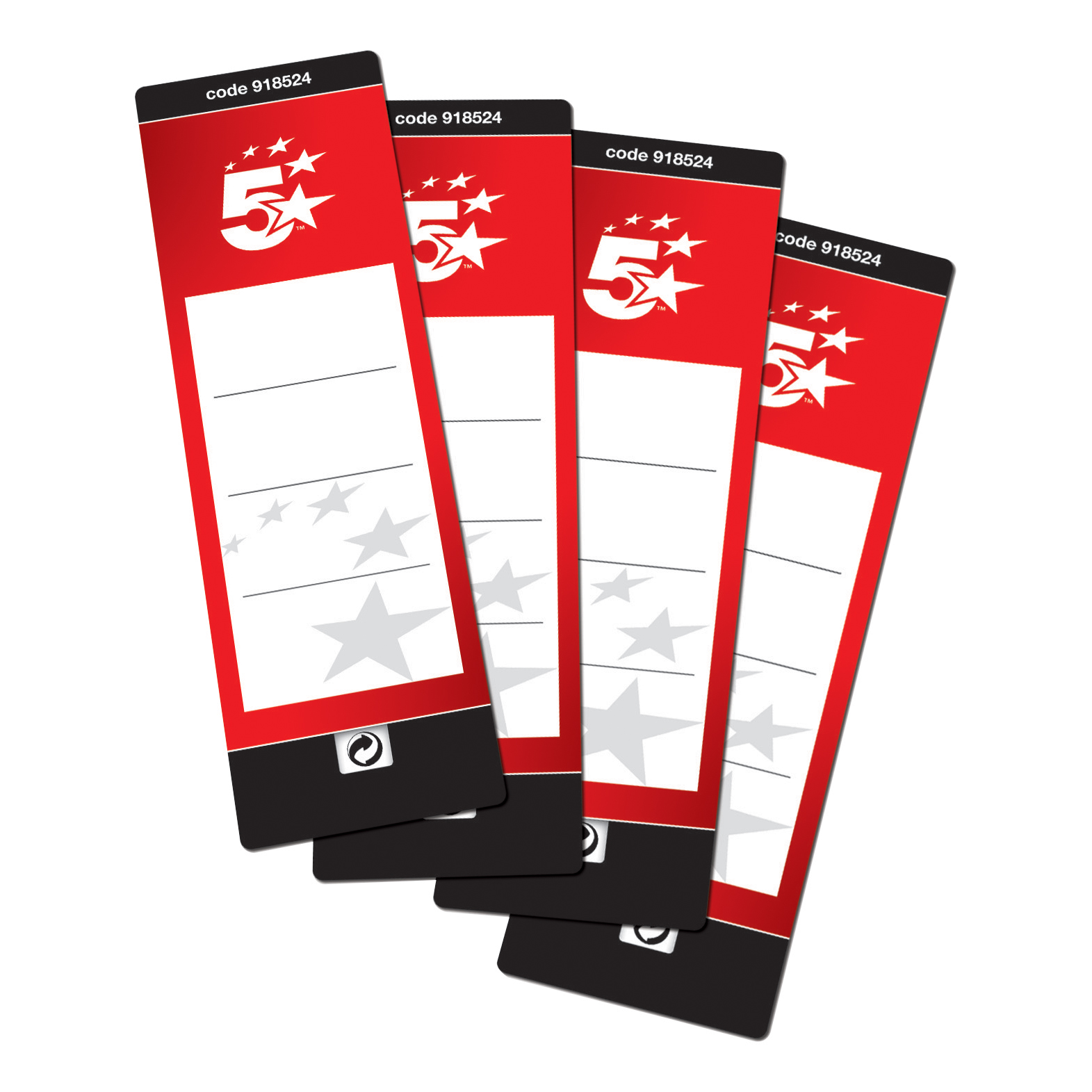 5 star office spine labels for lever arch file 1 per sheet 190x60mm
