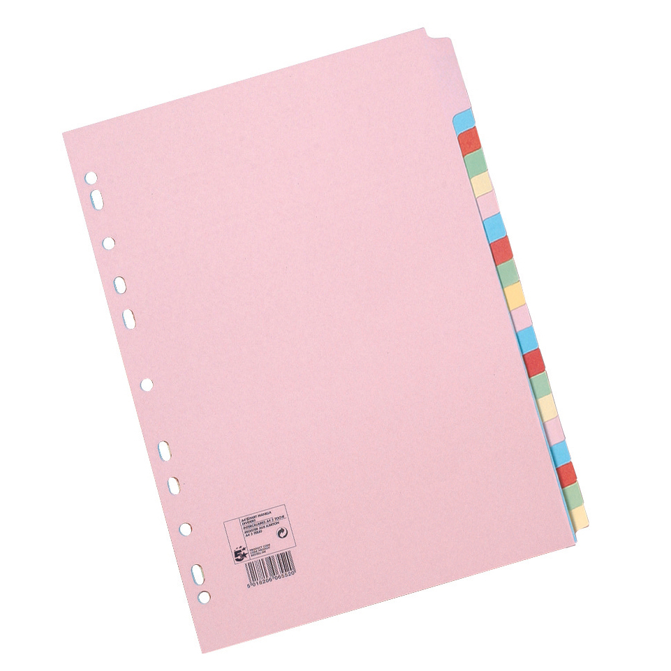 10 Part Subject Filing File Dividers A4 Multi Punched Coloured Manilla Card