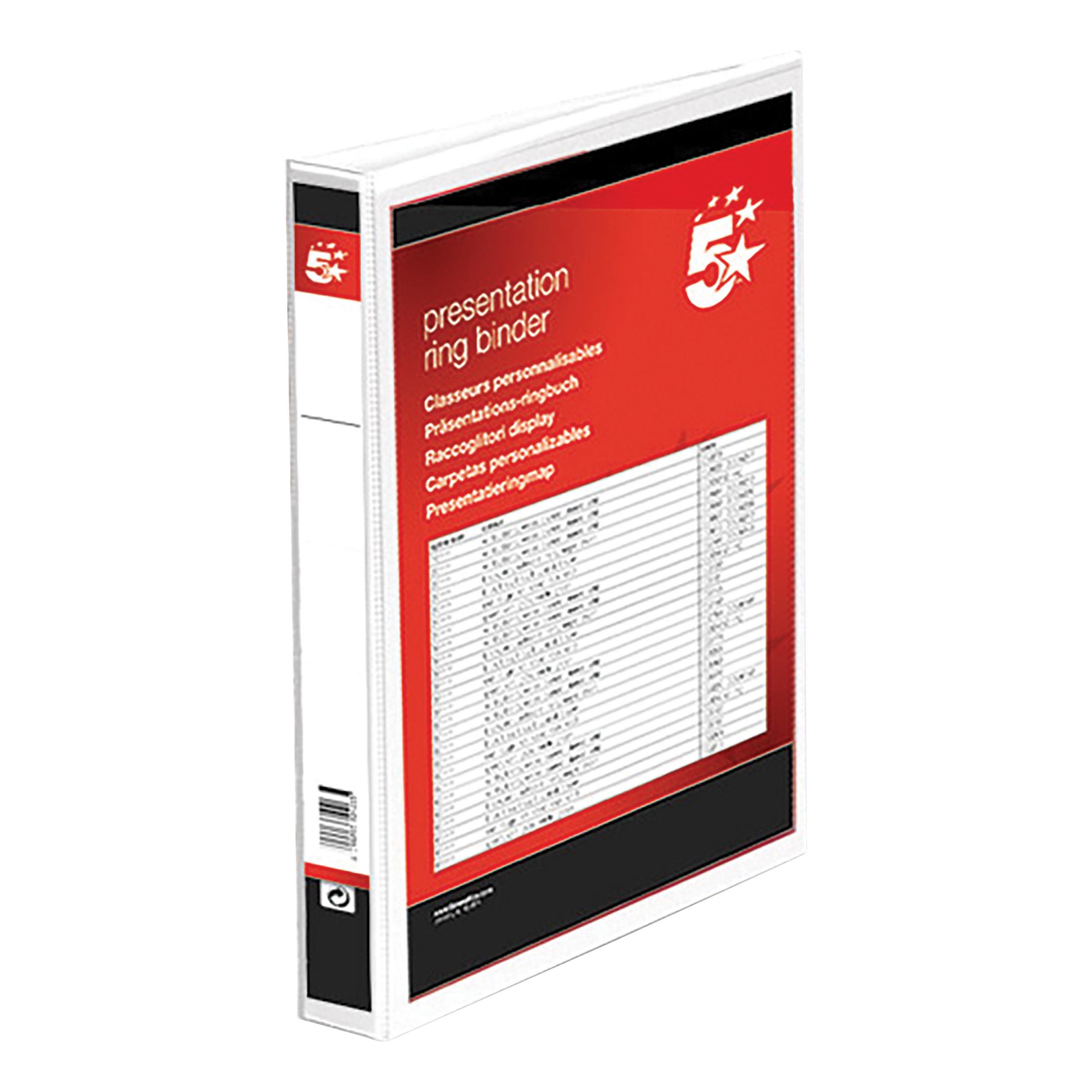5 Star Office Presentation Ring Binder Polypropylene 4 D 25mm Size A4 White Pack 10