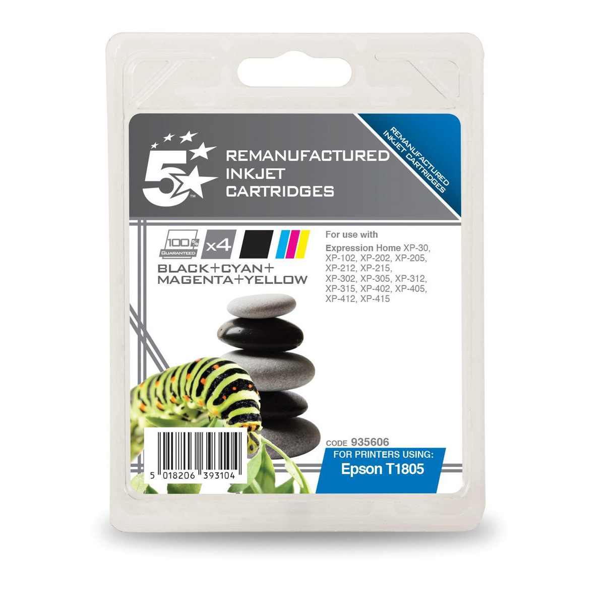 5 Star Office Reman Inkjet Cartridges Blk 2ml C M Y 3 3ml Epson C13t18064012 Alternative Pack 4