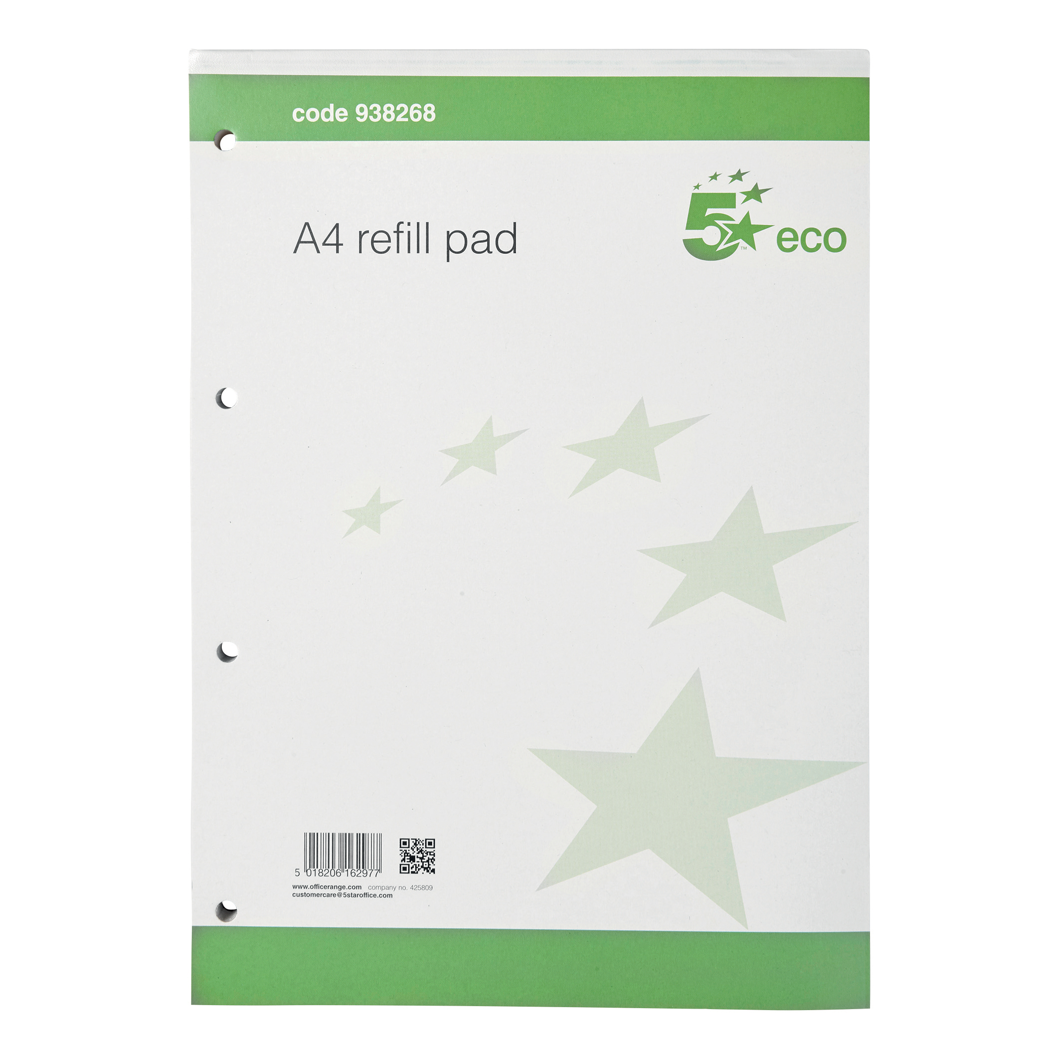 Holes Quotes And Page Numbers: 5 Star Eco Refill Pad Headbound 70gsm Ruled Margin Punched