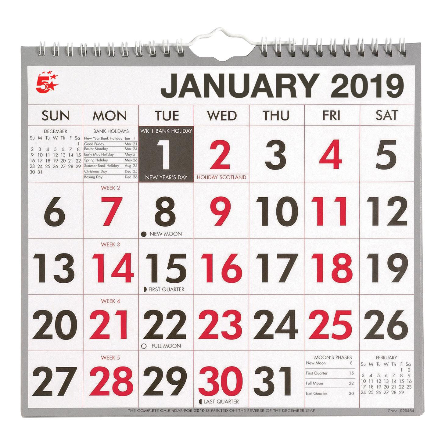 2019 Calendar Office 5 Star Office 2019 Wall Calendar Month to View Wirebound 135gsm