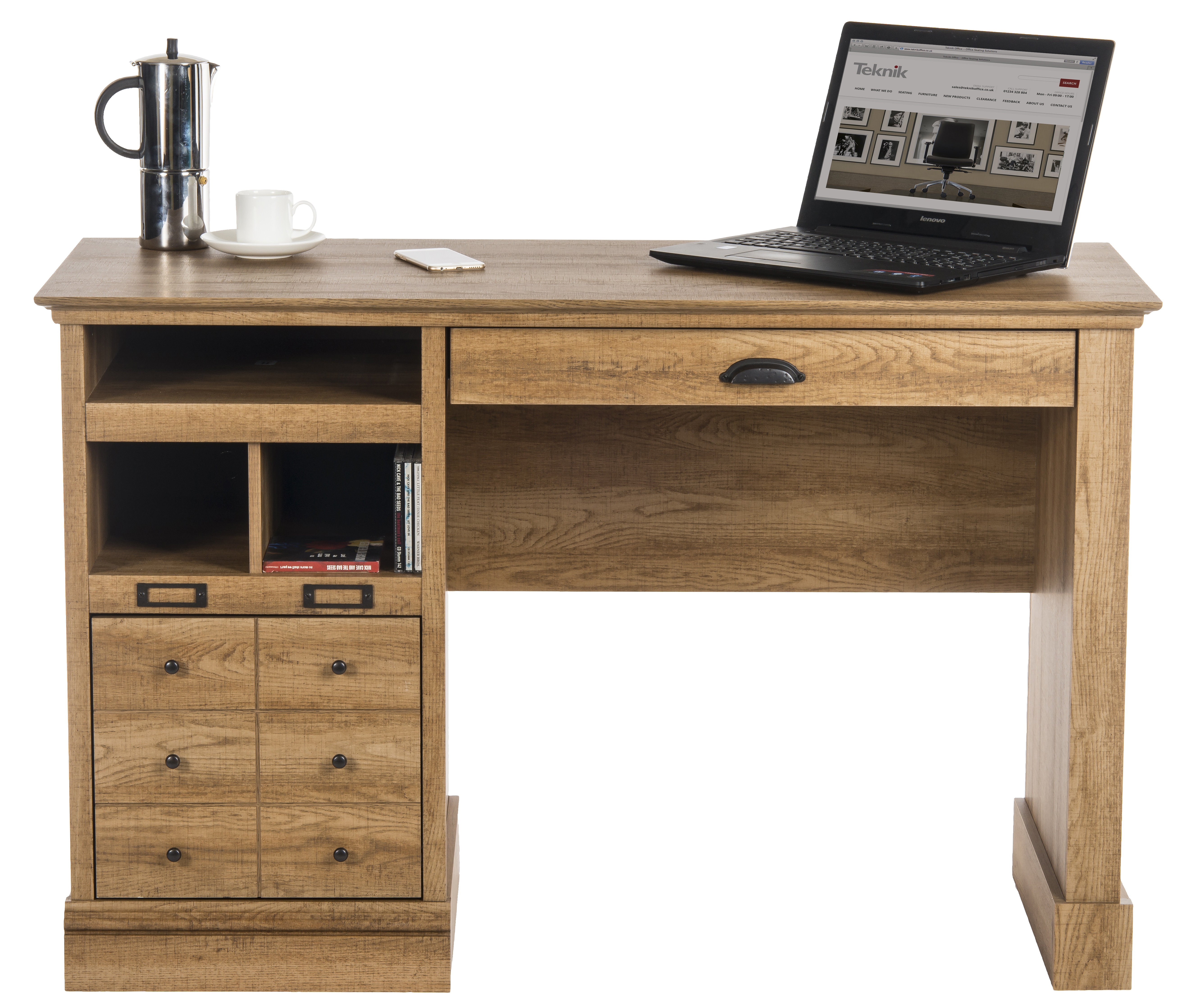 home office writing desk. Teknik Office Scribed Oak Effect Home Writing Desk