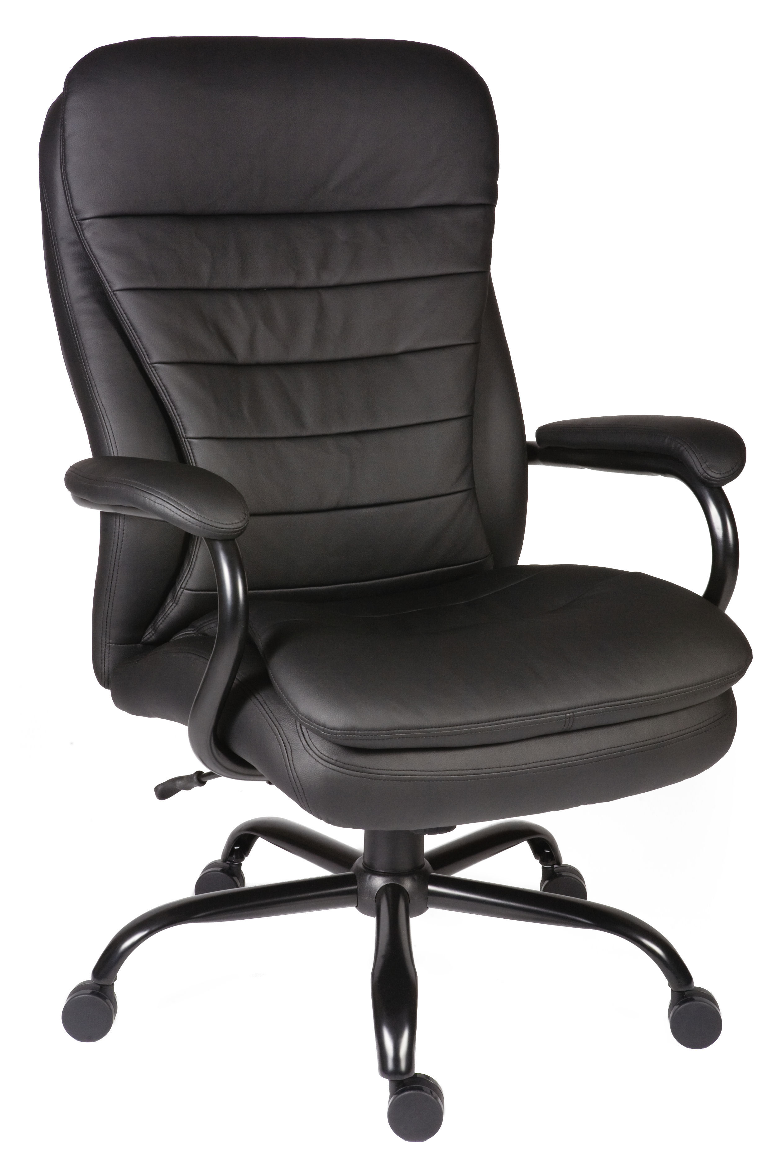 Teknik Office Goliath Heavy Duty Black Bonded Leather Executive Chair Matching Padded Armrests