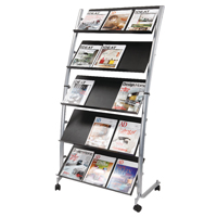 Compare retail prices of Alba 5 Shelf Single Sided Mobile Literature Display Stand 3xA4 DD5GM to get the best deal online