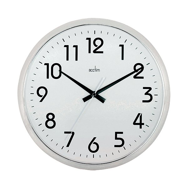 Acctim Chrome White Orion Silent Sweep Wall Clock 320mm