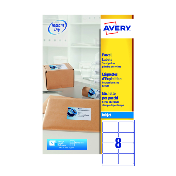 avery quickdry white inkjet labels 99 1 x 67 7mm 8 per sheet pack