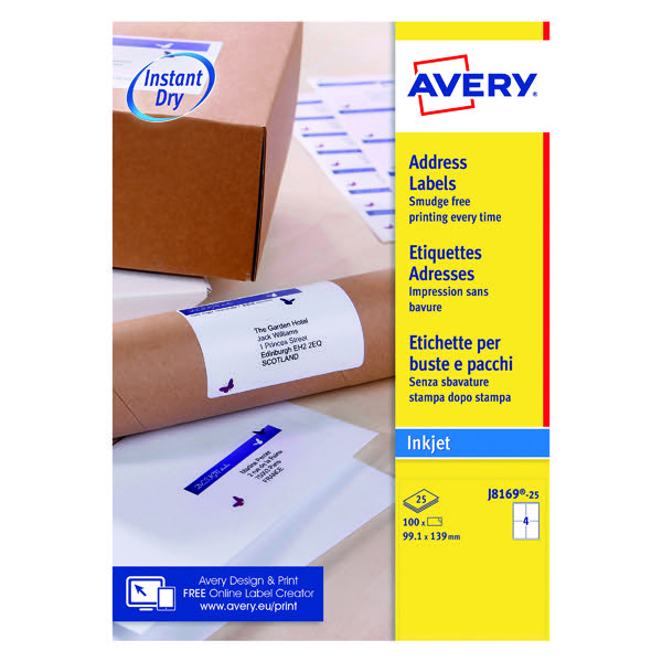 avery quickdry white inkjet labels 139 x 99 1mm 4 per sheet pack of