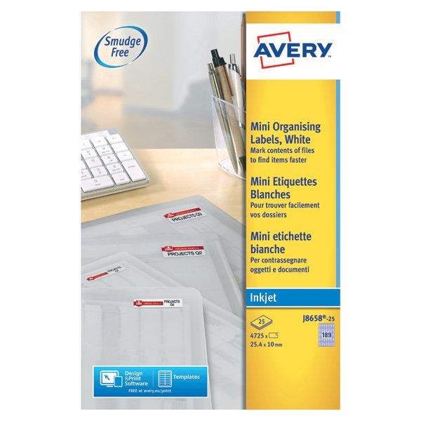 avery mini white inkjet label 25 4 x 10mm 189 per sheet pack of