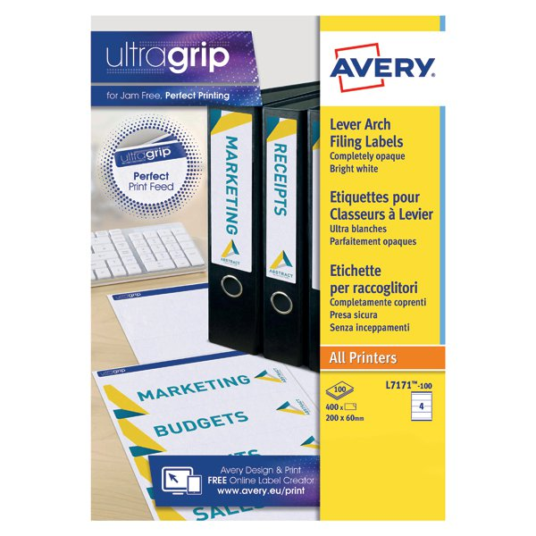 Avery Lever Arch Filing Laser Labels 200mm X 60mm Pack Of 400
