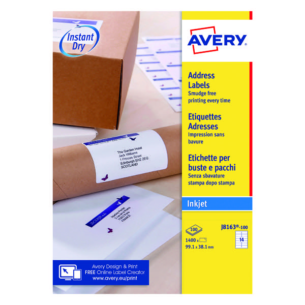 Avery White Inkjet Address Labels 991 X 381mm 14 Per Sheet Pack Of 1400 J8163 100