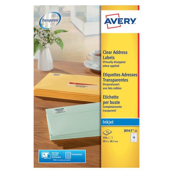 avery clear inkjet label 99x38mm pack of 350 j8563 25 stakelum