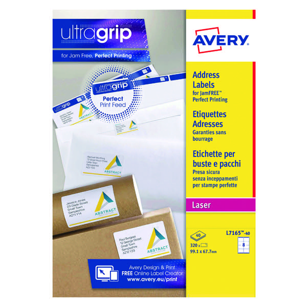 avery white laser parcel labels 99 1 x 67 7mm 8 per sheet pack of