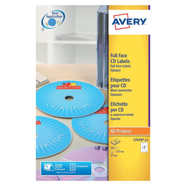 avery white full face cd dvd laser label 2 per sheet pack of 25