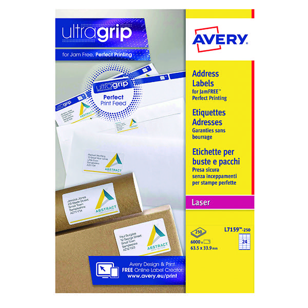 Avery White Quick Peel Address Labels 64x34mm Pack Of 6000 L7159