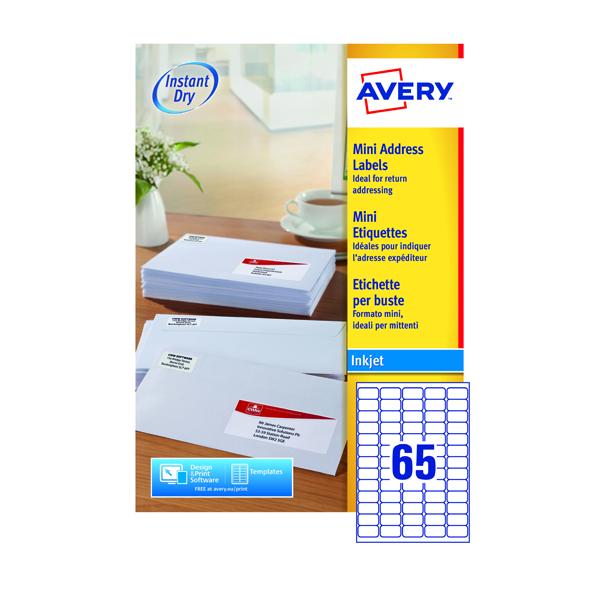 avery mini white inkjet label 38 1 x 21 2mm 65 per sheet pack of