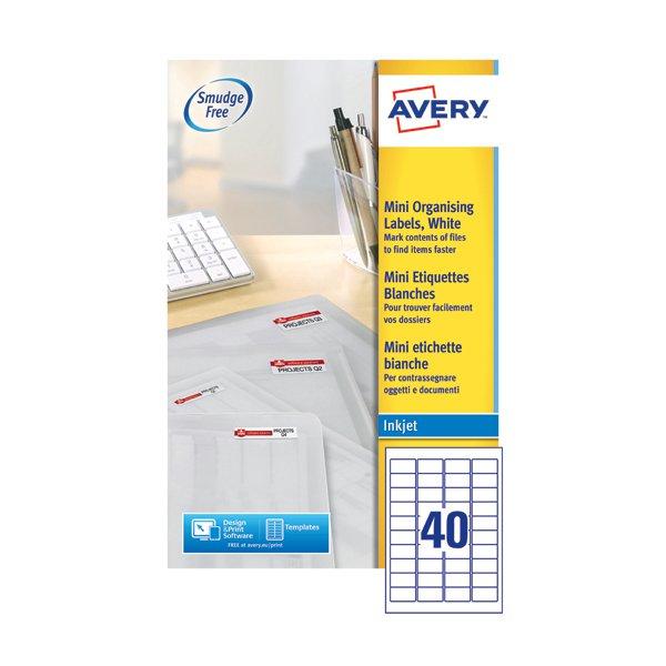 avery mini white inkjet labels 45 7 x 25 4mm 40 per sheet pack of