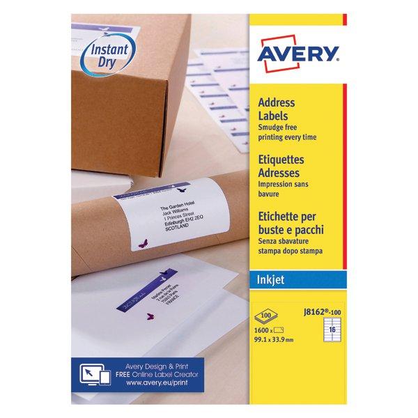 Avery White Inkjet Address Labels 991 X 339mm 16 Per Sheet Pack