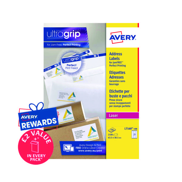 avery quickpeel l7160 100 laser address labels 63 5 x 38 1mm pack