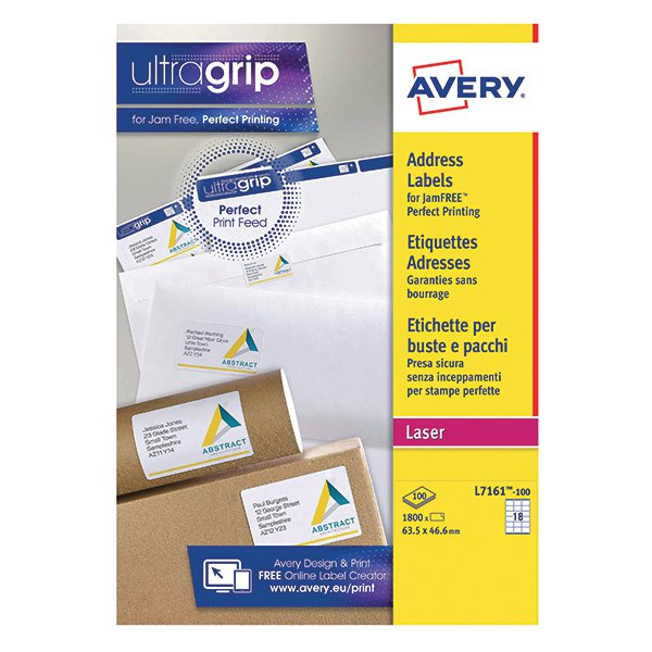 avery quickpeel l7161 100 laser address labels 635 x 466mm pack of 1800 l7161 100
