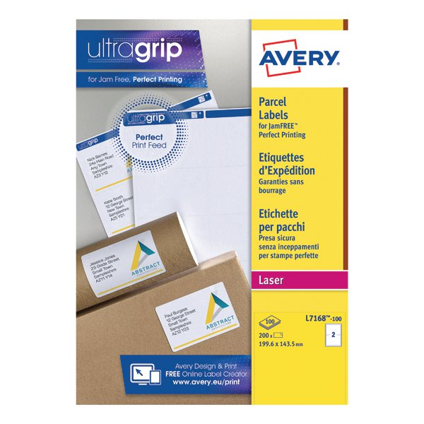 avery white laser parcel labels 199 6 x 143 5mm 2 per sheet pack of